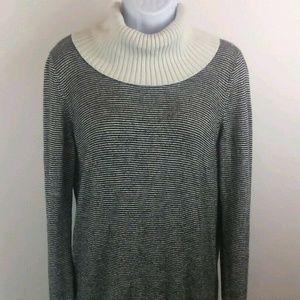 Loft Black and White Turtleneck Sweater - Large